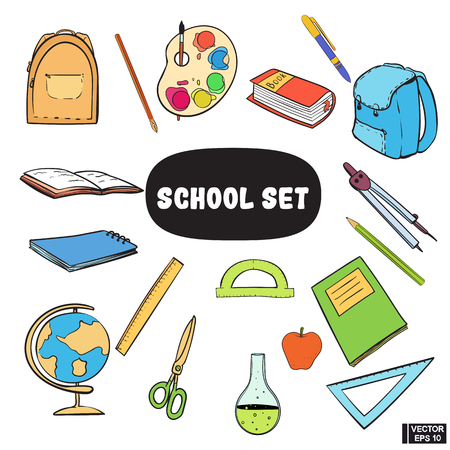 Immagine vettoriale. Una serie di materiale scolastico. Schizzi di colore disegnati a mano