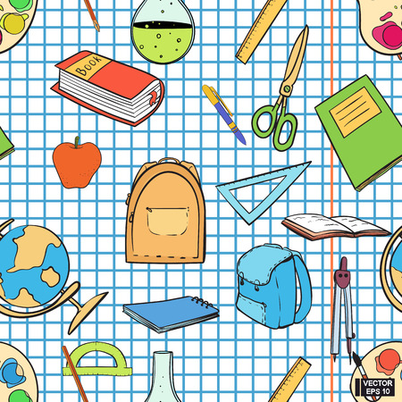 Vector image. Seamless pattern with textbooks and portfolios. Hand-drawn school supplies on a background of a sheet in a cage. Vettoriali
