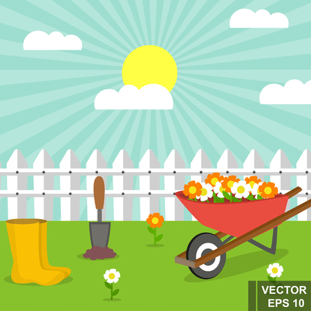 Gardening illustration with boots and flowers on cart under the sun.