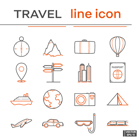 Vector image. Set of icons, travel. Black and red line icons