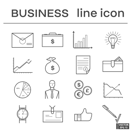 Vector image. A set of icons on the theme of business. Black and white linear sign
