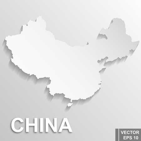 Flag of China. Map. Symbol of the state. For your design. Rectangle. Illustration
