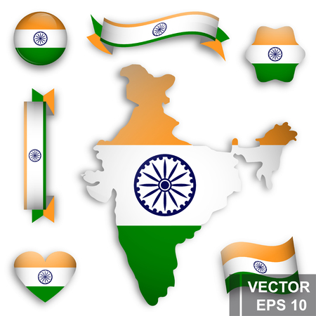 Flag of India. Map. Symbol of the state. For your design. Rectangle.