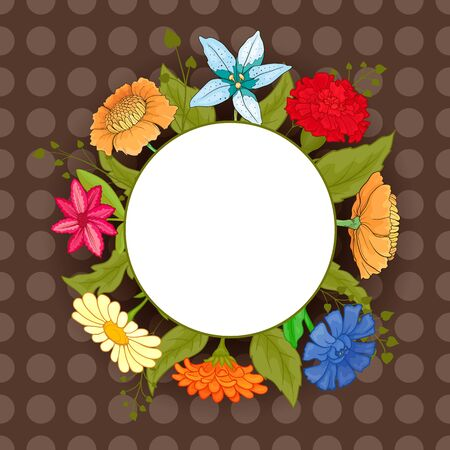 Frame with bright colored flowers on a brown background. Red carnation, blue cornflower, chamomile, orange gerbera. Stock Photo