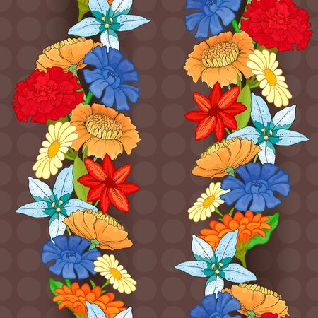 Seamless brown pattern with bright colored flowers. Blue cornflower, red carnation, orange gerbera, chamomile.