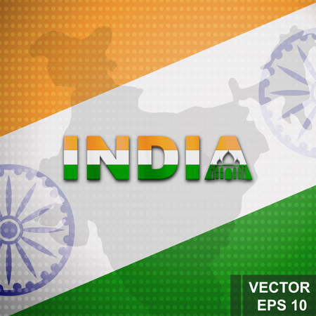 Flag of India Map Symbol of the state Illustration