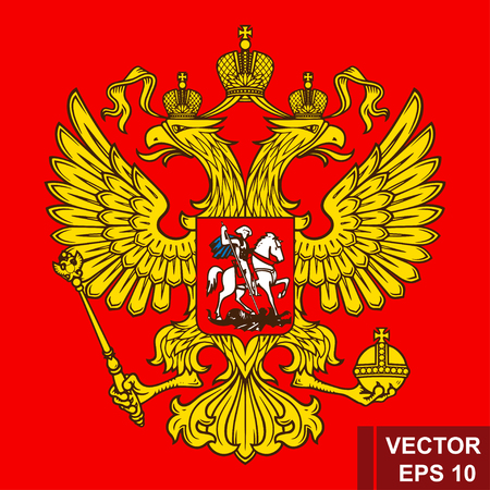 Coat of arms of Russia. Illustration with a two-headed eagle. Red background. Gold. For your design. Stock Illustratie