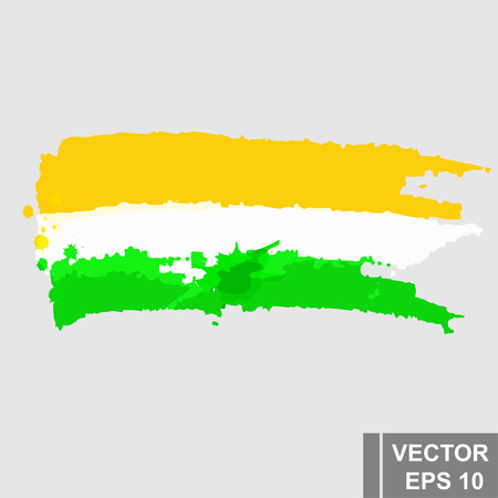 Grunge brush stroke style with a Flag of India, isolated on white.