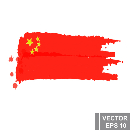 Grunge brush stroke style with a Flag of China, isolated on white Çizim