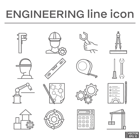 Vector image. Set of line icons on the theme of engineering. Black and white outline sign. Vectores