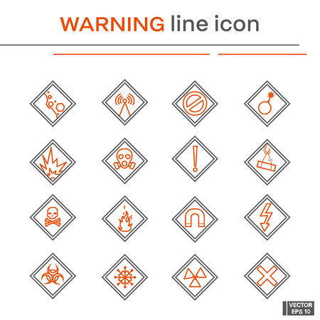 Vector image. Set of line icons on the theme of warning. Black and red outline sign.