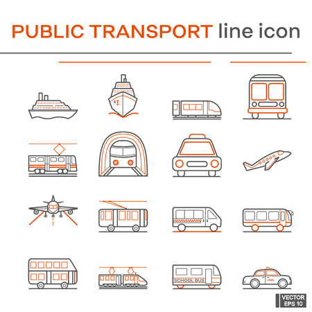 Vector image. Set of line icons on the theme of public transport.