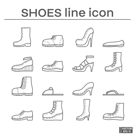 Set of line icons on the theme of shoes in black and white outline sign. Vettoriali