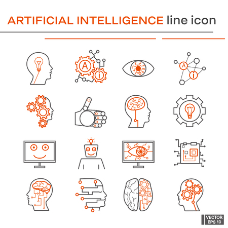 Vector image. Set of line icons on the theme of artifical intelligence. Black and red outline sign.