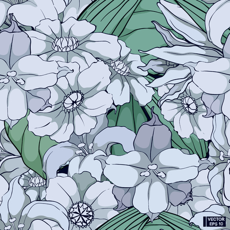 Vector image. White flowers, seamless pattern. Abstract background with flowers. 向量圖像