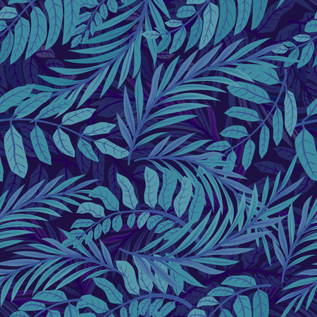 Colored tropical leaves, seamless pattern. Abstract blue background.