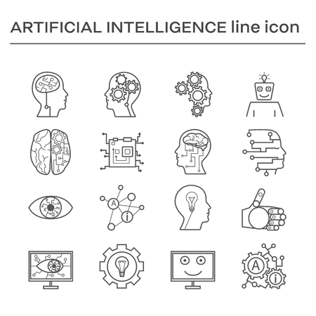 Set of line icons on the theme of artifical intelligence. Black and white outline sign.