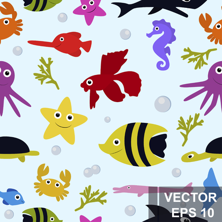 The marine pattern. Undersea world. Childrens. Bright. Prints for clothes and postcards. For your design. Ilustração