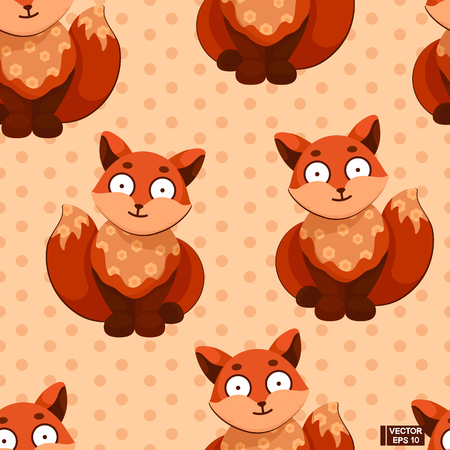 Vector image. Seamless pattern of toys animals for your design. Red fox on a beige in polka dots background. Simple cartoon images for children.