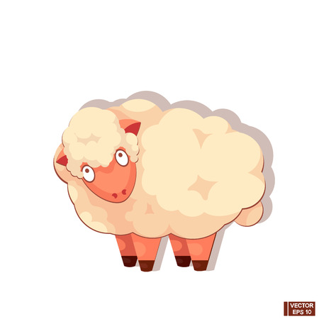 Vector Illustration. Cute little sheep, farm animal cartoon character on a white background.