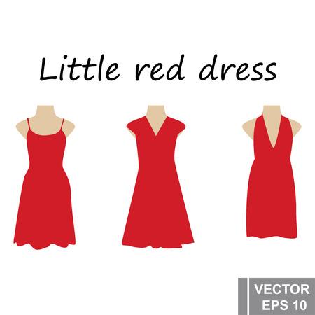 小さな赤いドレス。セット。シンプルなフラットスタイル。あなたのデザインのために。白い背景に隔離されています。