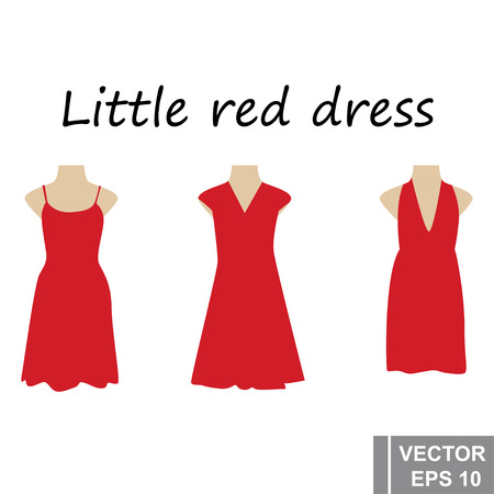 A little red dress. Set. Simple flat style. For your design. Isolated on white background.