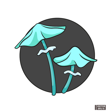 Vector image. Cartoon blue magic mushrooms. Halloween icon.