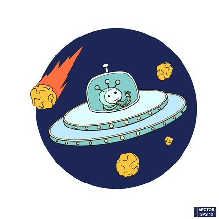 Vector image. Science fiction fantastic spacecraft icon. Cute cartoon ufo doodle.