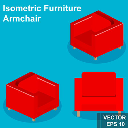 Armchair. Isometry. View from above. Isolated. Set Vector Illustration
