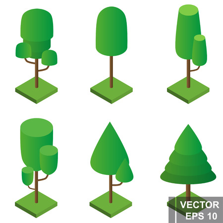 Trees are isometric. Set. View from above. For your design.