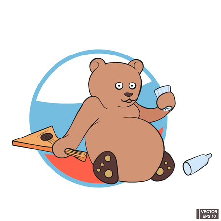 Vector image. Icon stereotypes about Russia. Funny cartoon bear with vodka and balalaika. Çizim