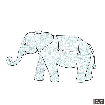 Vector image. The elephant icon is a symbol of India. Doodle elephant in floral patterns.