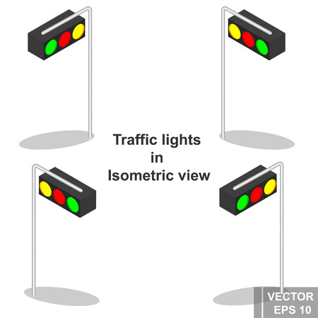 The traffic light is isometric. View from above. Icon. For your design.