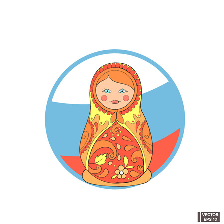 Vector image. Icon russian tradition matrioshka. Cartoon nested doll in red.