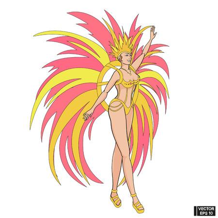 Imagen vectorial. Chica brasileña en traje brillante con plumas rosas y amarillas. Carnaval de Río de Janeiro. Ilustración de vector