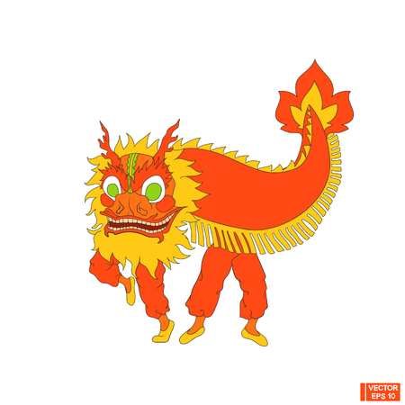 Vector image. A simple icon, a Chinese red dragon.