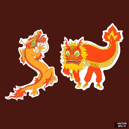 Vector image. A simple icon, a Chinese red dragon. Vector Illustration