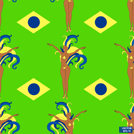 Vector image. Seamless pattern - carnival in Rio de Janeiro. Brazilian girls in yellow and blue costumes with feathers on green background. Painted in the colors of the flag of Brazil. Illustration