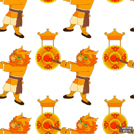 Vector image. Seamless pattern. Cartoon Chinese dragon in kimono beats in gong.  イラスト・ベクター素材