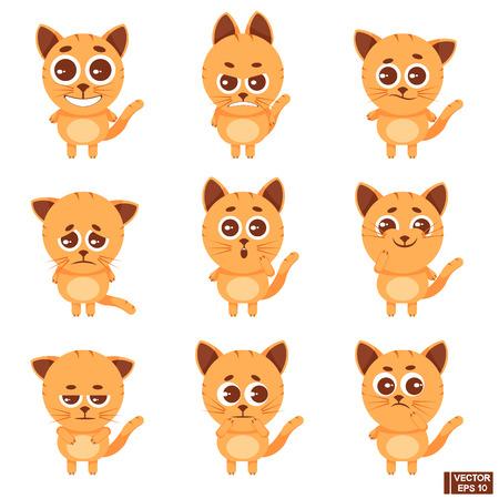 Vector illustration. Set of emoticon icons is a cartoon animal. Emoji cute kitten. Redhead cat.
