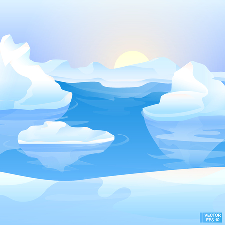 Vector arctic landscape. Icebergs and northern ice. Illustration