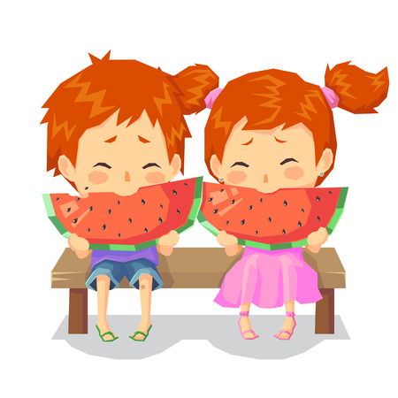 illustration of happy child boy girl twins enjoy eating watermelon in hot day with fan isolated on white background