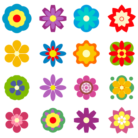 Seth flowers. Isolated on white background. Different. simple flat style. Imagens