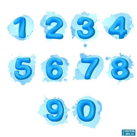 Vector cartoon numbers set at blue water splash background.