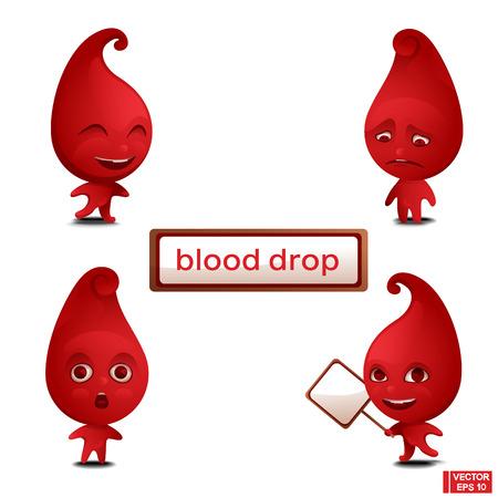 Vector collection set of red cartoon drop blood mascot character. Ilustração
