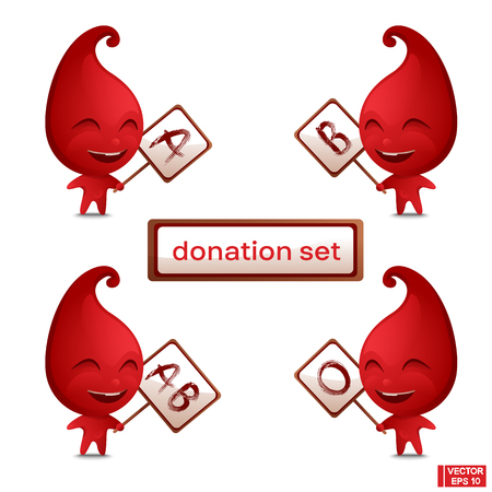 Vector cartoon blood drop character holding a sign. Blood type or blood group.