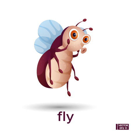 Vector cute cartoon character fly surprised. Icon insect. Ilustração