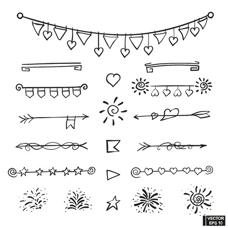 Vector set of hand draw underline patterns, dividers and festive elements. Doodle icons checkboxes, firework, hearts
