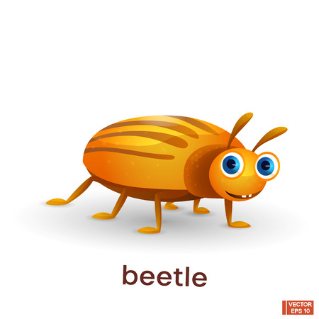 Vector image of an insect. Cute yellow cartoon striped bug.