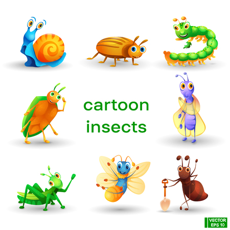 Vector set of cute icons cartoon insects characters. Vettoriali
